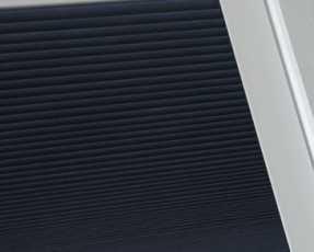 navy pleated skylight blinds