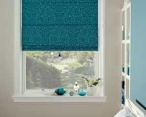 blue patterned blackout blinds