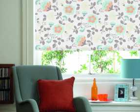 flowery cream roller blinds