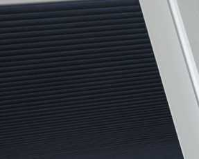 navy pleated skylight blinds