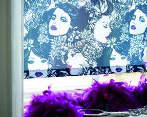 face patterned blue and purple roller blinds