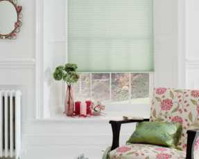 mint green pleated blinds